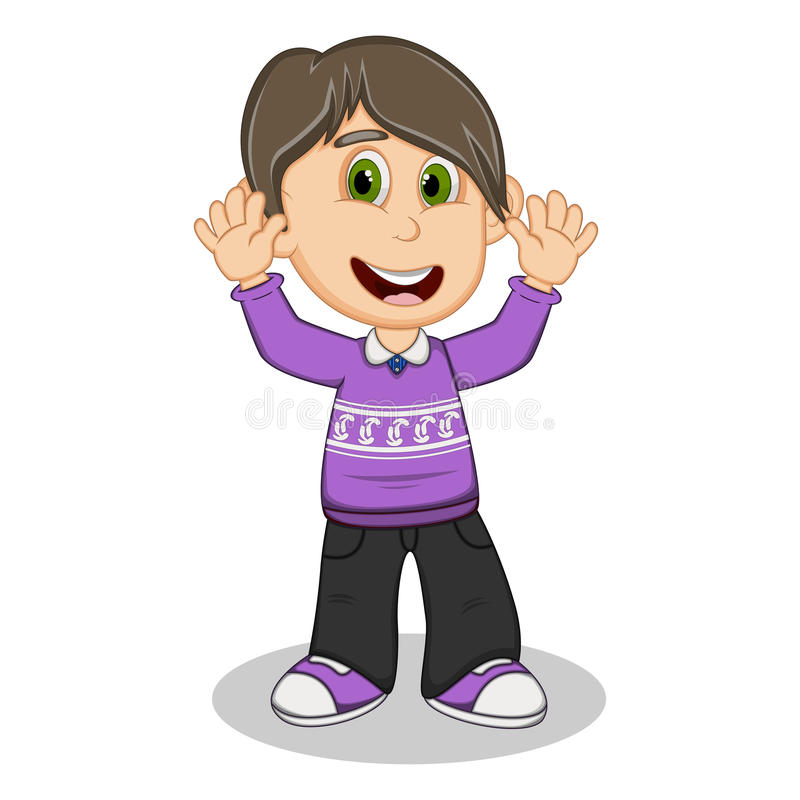 Children waving his hands wearing purple long sleeve sweater and black trousers cartoon. Full color vector illustration