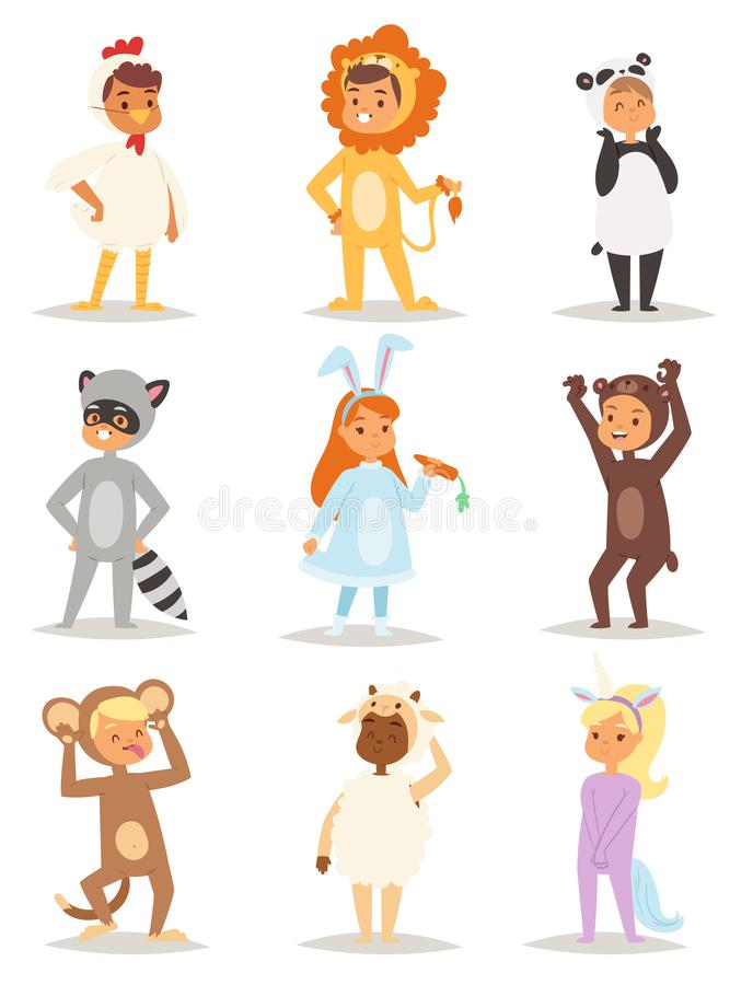 Children wearing fancy dress costumes animals masquerade kids holiday characters vector illustration. stock illustration