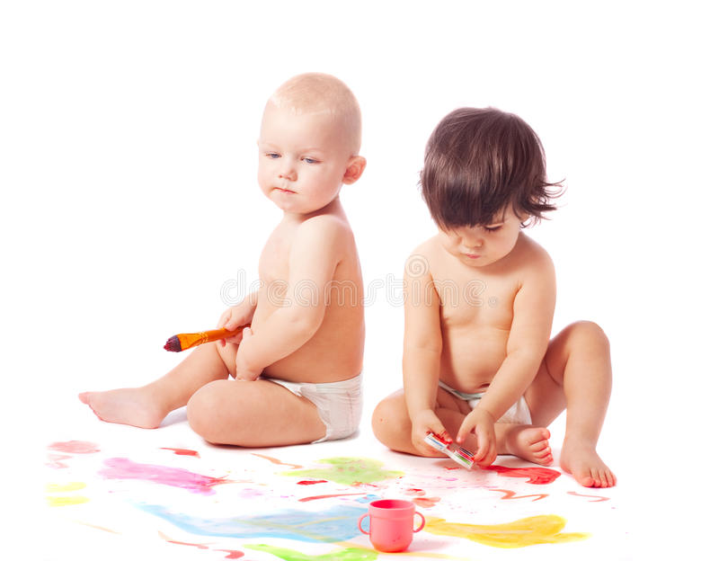 Children whith paint royalty free stock photos