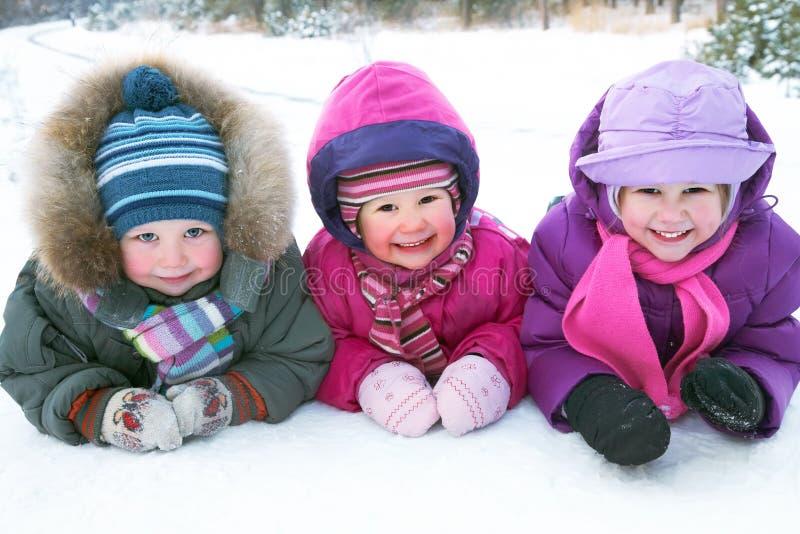 Children in winter royalty free stock photos