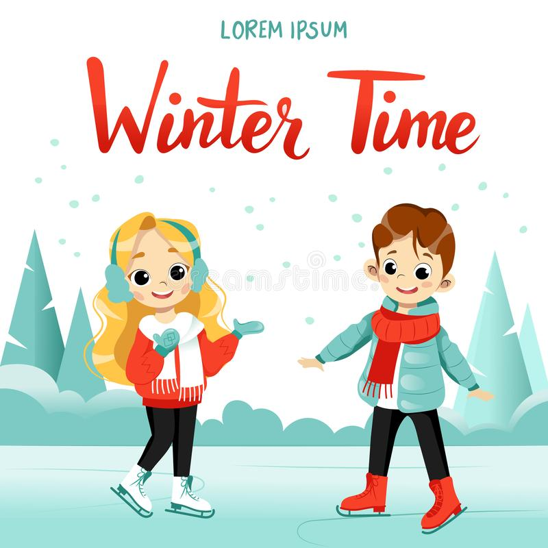 Children winter activity. Cute cartoon boy and girl are skating together on the frozen lake. Flat style. Vector illustration royalty free illustration