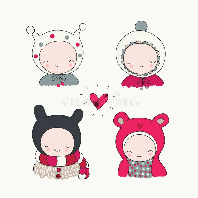 Children in Winter Cloth vector royalty free illustration