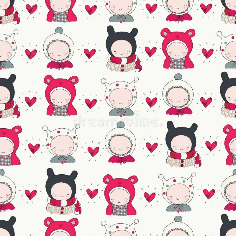 Children in Winter Cloth pattern royalty free illustration