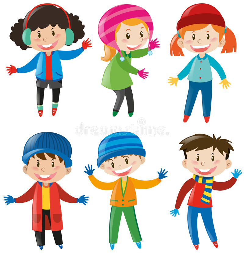 Children in winter clothes stock illustration