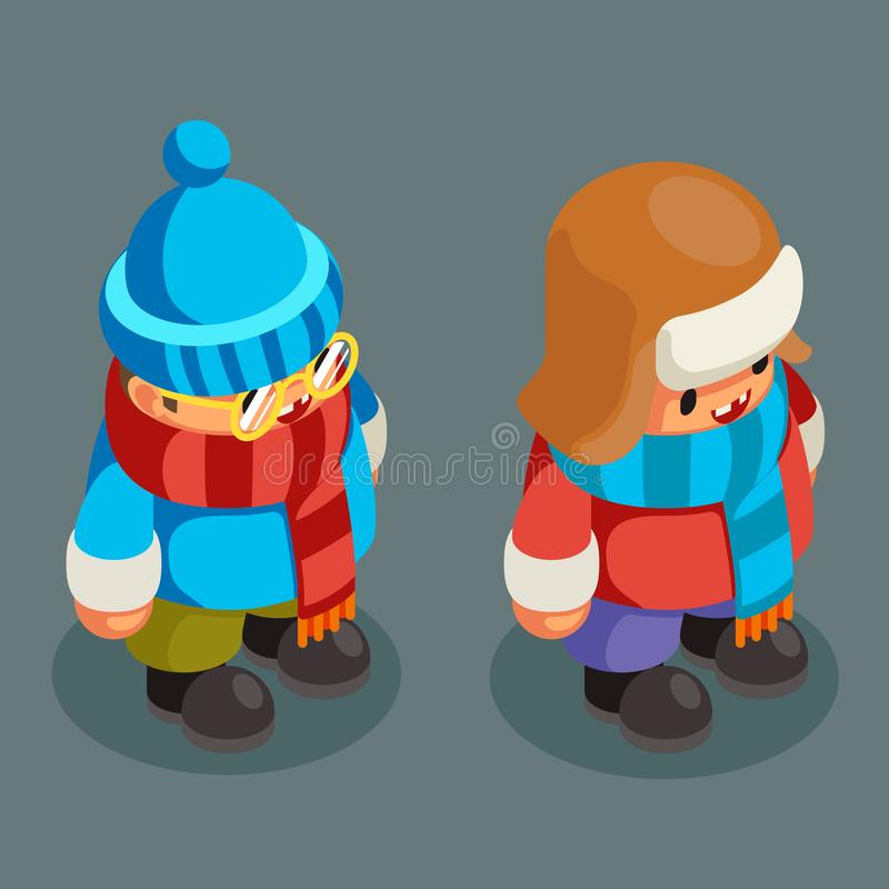 Children winter clothes isometric boy christmas kid character new year 3d flat cartoon design vector illustration vector illustration