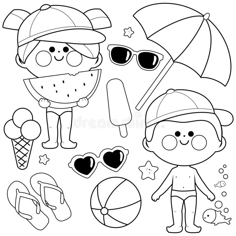Free Children With Swimsuits And Hats. Beach Summer Vacation Design Elements. Black And White Coloring Book Page Royalty Free Stock Image - 144465196