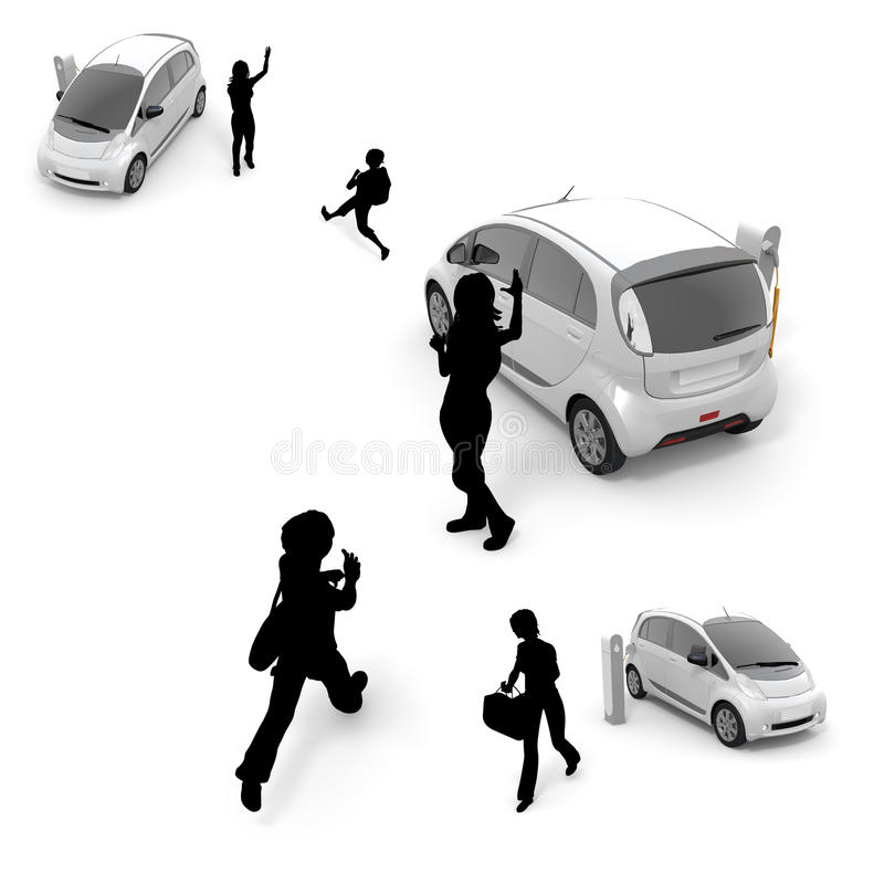 Children / woman / electric car. To charge an electric car at a charging station. Use to move means of transportation. To make the everyday life. It is used as vector illustration