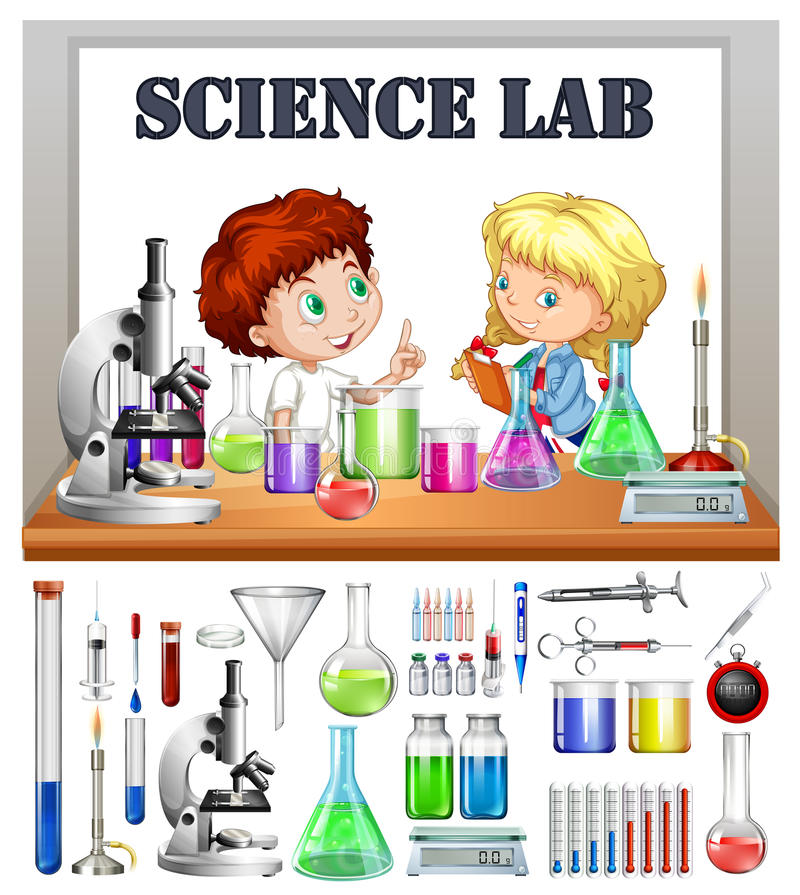 children working in the science lab stock vector illustration of rh dreamstime com science lab equipment clipart science lab equipment clipart