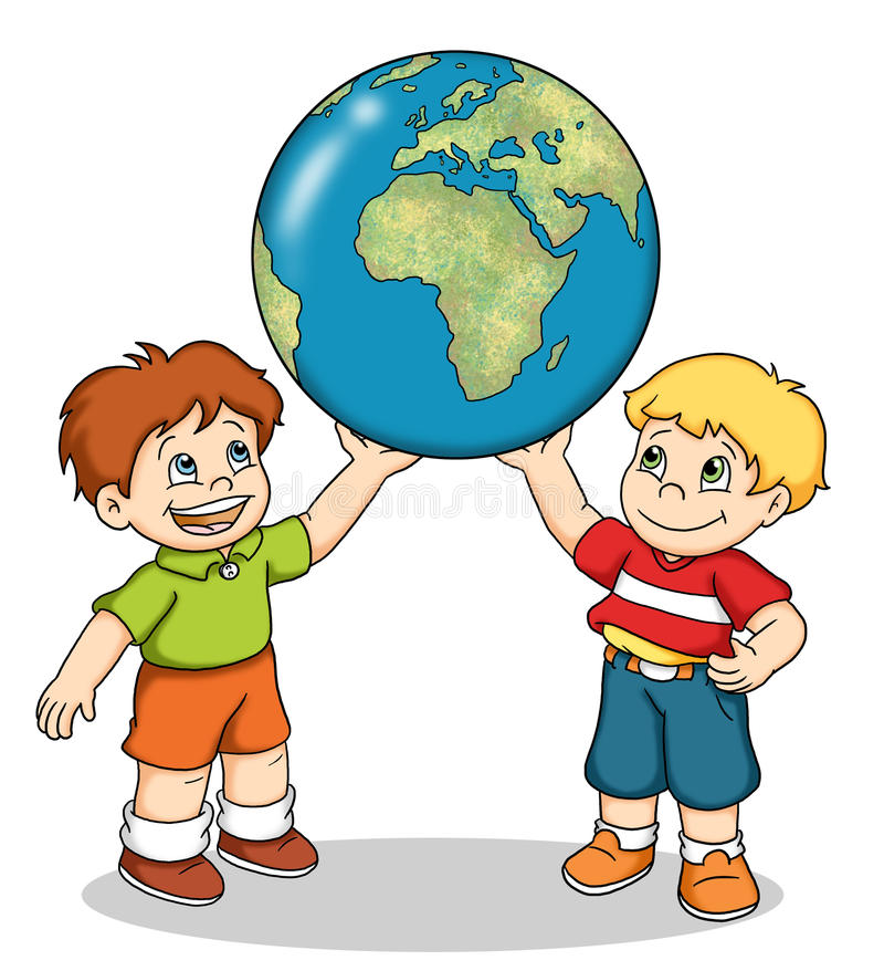 Children of the world. Digital illustration of two nice children that hold the world map royalty free illustration