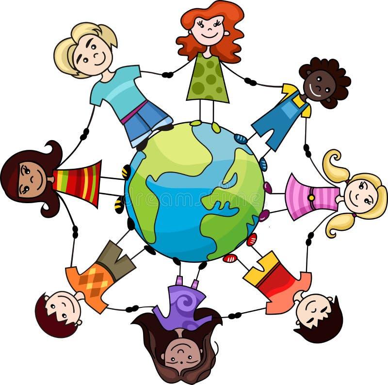 Children of the world stock illustration