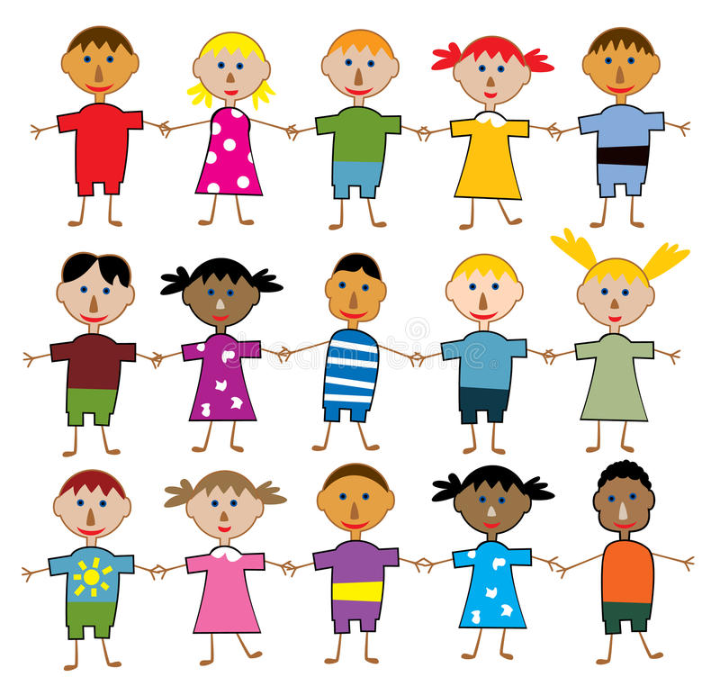 Children of the world. Vector rows of young children of the world stock illustration