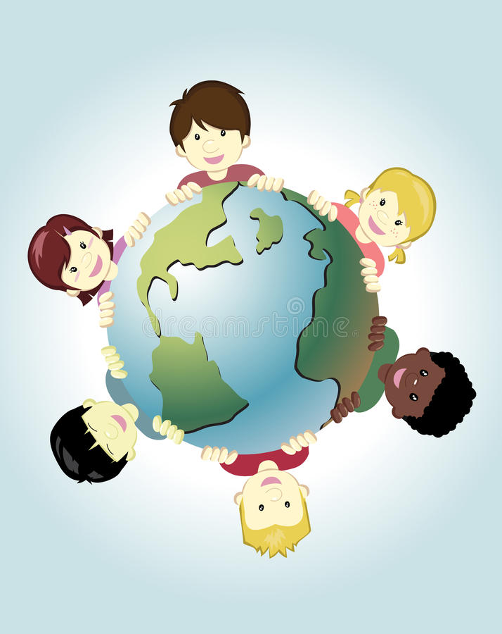 Children of the world. Image of children around the world holding the earth as symbol of peace vector illustration