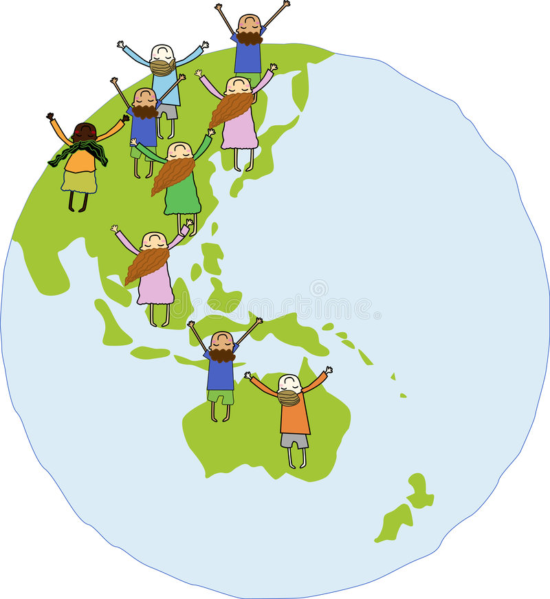 Children at the World. Illustration of multi-cultural children symbolizing world unity and peace stock illustration