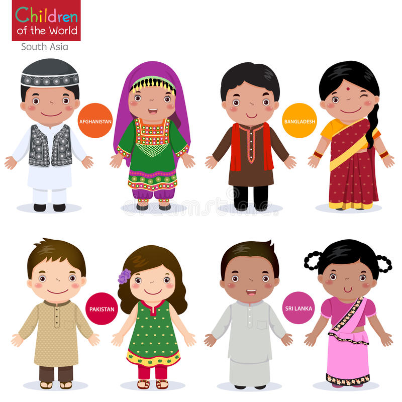 Children of the world (Afghanistan, Bangladesh, Pakistan and Srilanka) stock illustration
