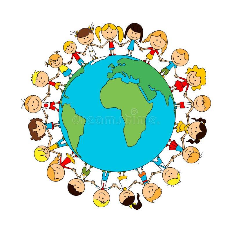 Children world friendship cartoon poster. Happy smiling kids around globe. Child unity and care concept vector symbol. Kindergarten boys and girls royalty free illustration