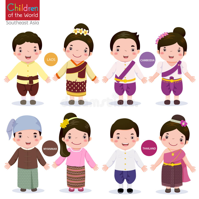 Children of the world; Laos, Cambodia, Myanmar and Thailand stock illustration
