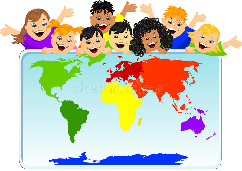 Children with a world map. A picture of children with a world map stock illustration