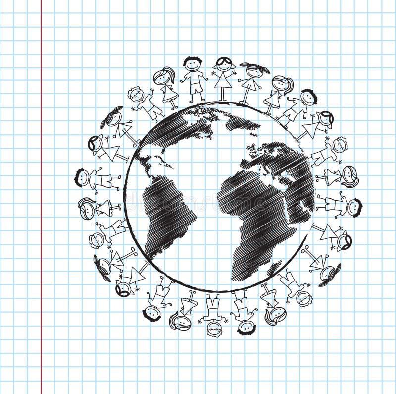 Children and world. Over paper background illustration stock illustration