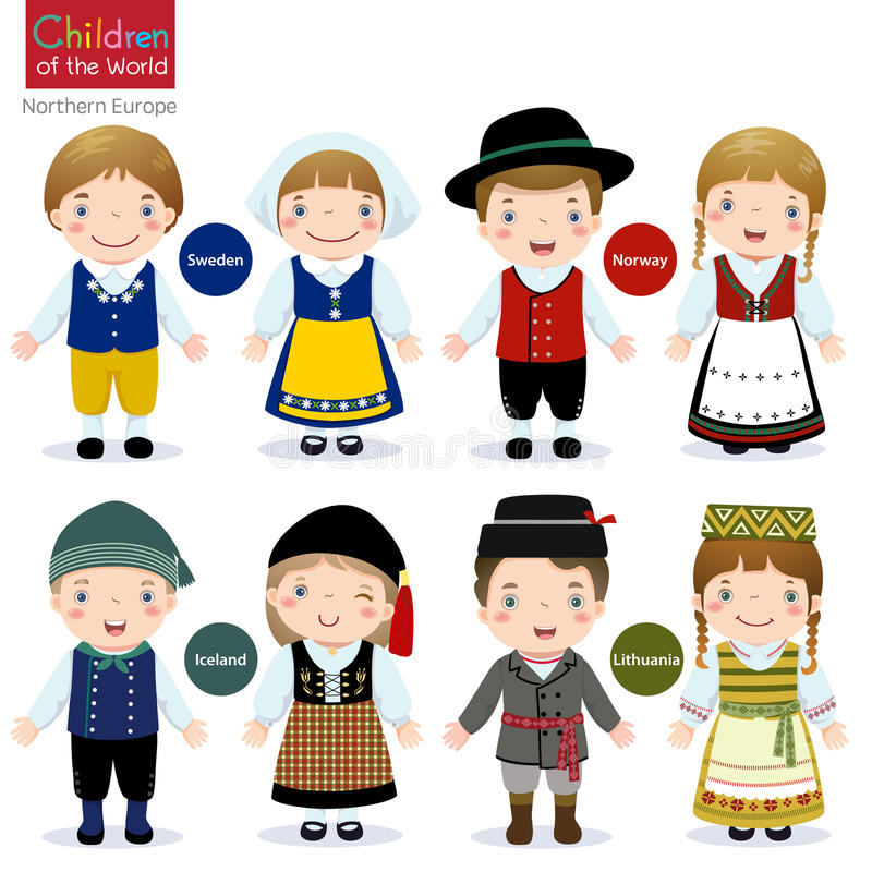 Children of the world (Sweden, Norway, Iceland and Lithuania). Kids in traditional costume (Sweden, Norway, Iceland and Lithuania stock illustration