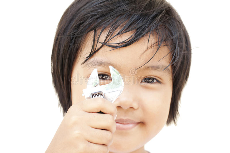 Download Children with wrench stock image. Image of portrait, childhood - 26139331