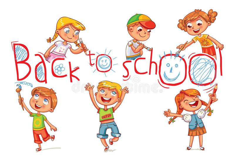 Children write a large inscription `Back to school`. Funny cartoon character. Vector illustration. Isolated on white background vector illustration