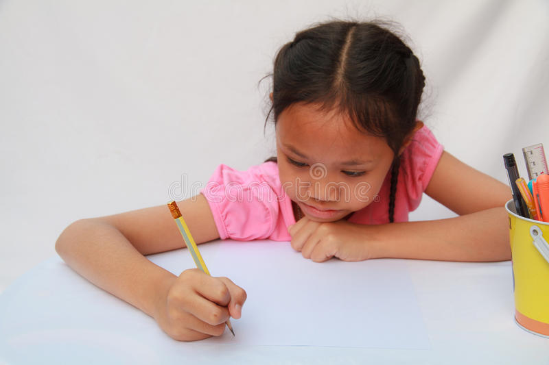 Children writing royalty free stock photo