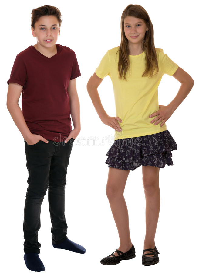 Children or young teenagers full body portrait isolated. On a white background stock photo