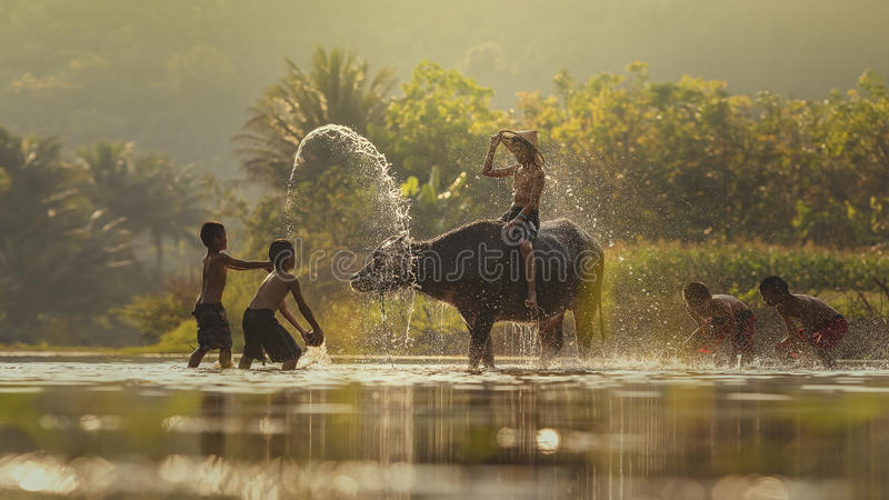 Children z bizonem zdjęcie royalty free