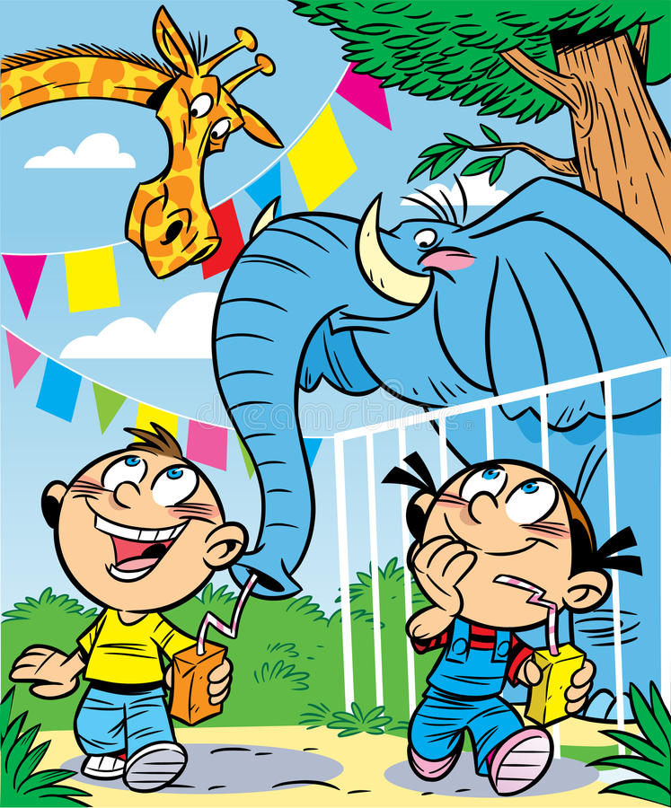 Download Children at the Zoo stock vector. Image of summer, elephant - 21057224
