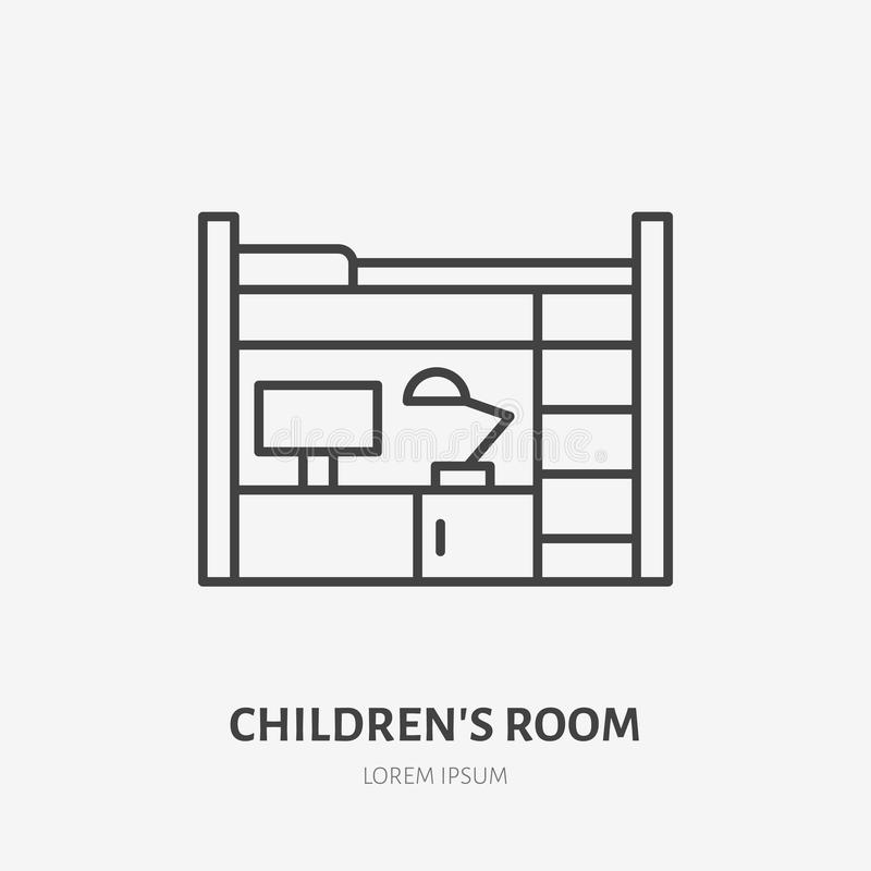 Childrens bedroom flat line icon. Apartment furniture sign, vector illustration of bunk bed with table. Thin linear logo. For interior store royalty free illustration