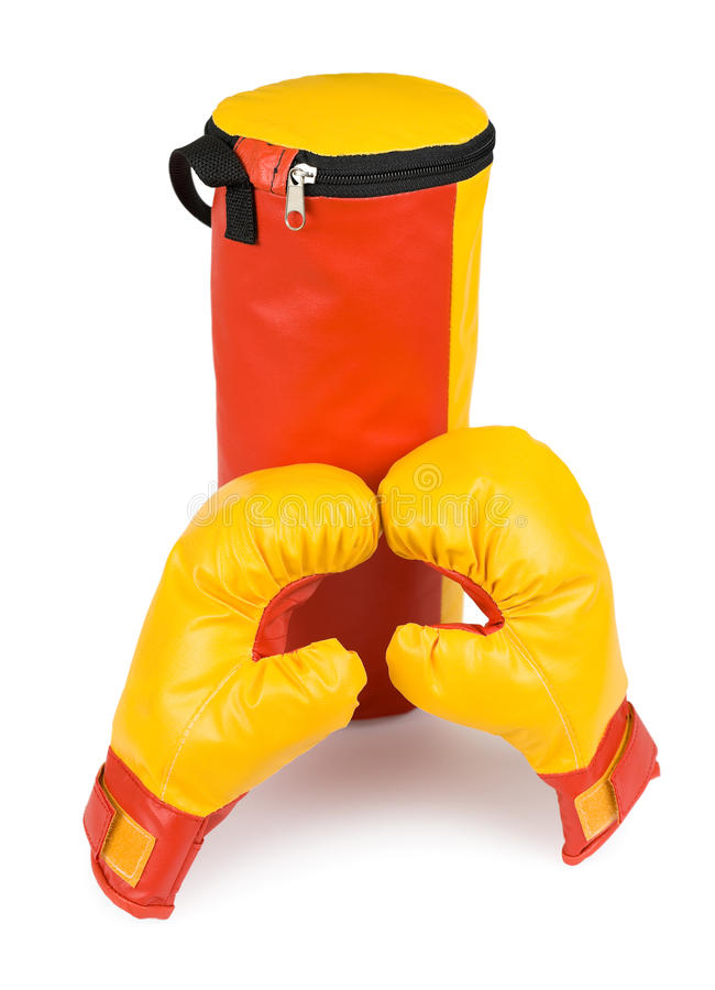 Childrens boxing kit. A childrens boxing kit - gloves and a punching bag stock images