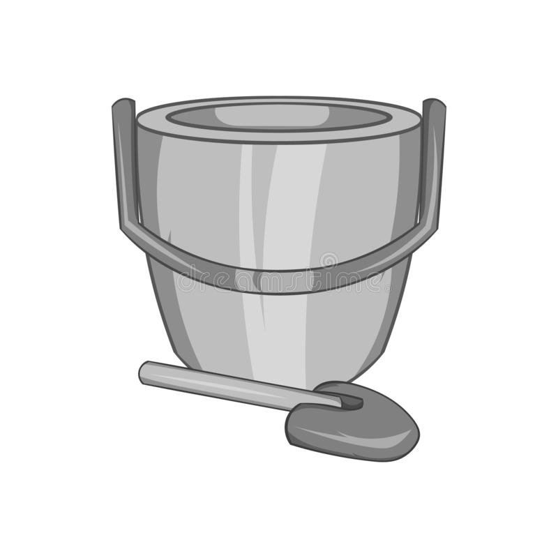 Childrens bucket with shovel icon. In black monochrome style isolated on white background. Childrens toy symbol illustration vector illustration