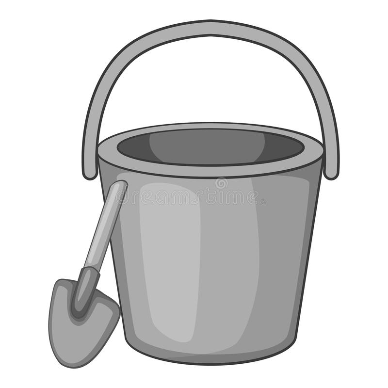 Childrens bucket with shovel icon. Gray monochrome illustration of  for web royalty free illustration