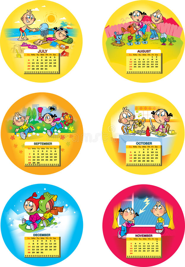 Childrens calendar. The illustration shows the calendar grid for the second half 2014 year . Done in background funny cartoon drawings of children, on separate stock photos