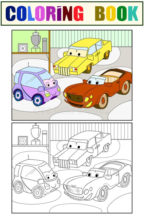 Download Childrens Cartoon Color Book For Boys Vector Of A Garage With Live Cars