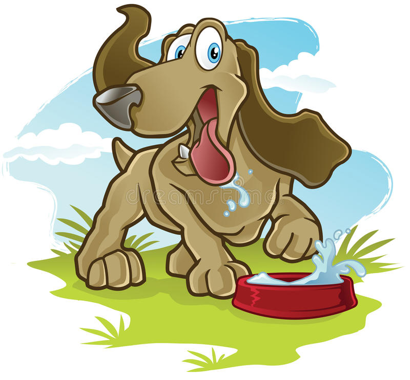 Happy Dog. A childrens cartoon illustration of a dog drinking water vector illustration