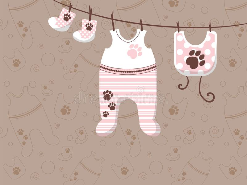 Childrens clothes are hung on ropes. Advertising banner for stores. Illustration vector illustration