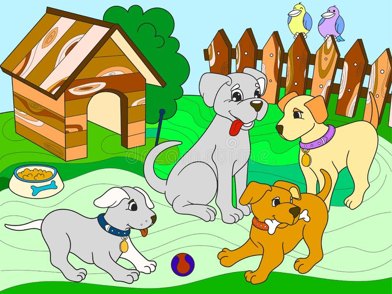 Childrens color book cartoon family on nature. Mom dog and puppies children. For adults raster illustration. Anti-stress for adult stock photo