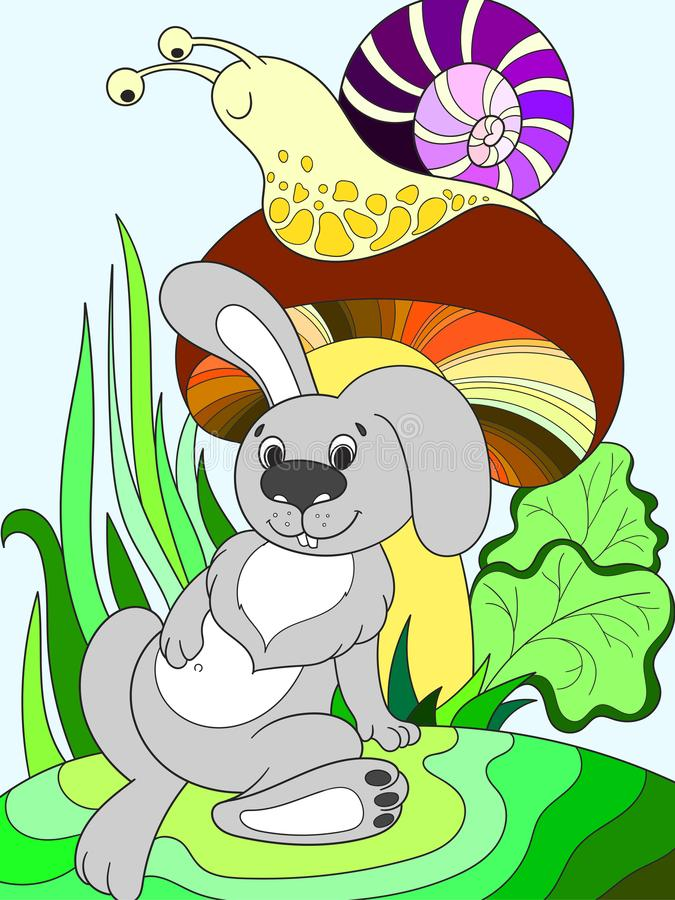 Childrens color cartoon animal friends in nature. Rabbit under a mushroom and snail. Anti-stress for adult royalty free stock image