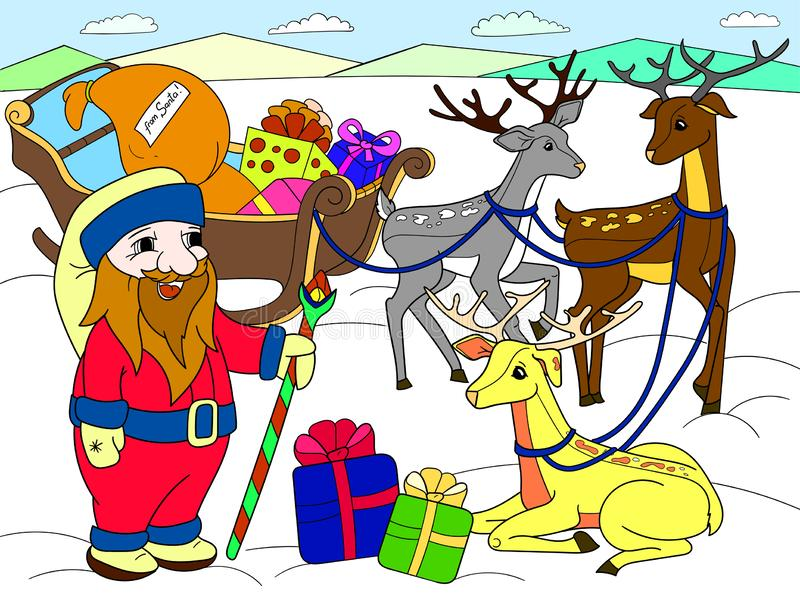Childrens color cartoon animal friends in nature. Santa claus on the north pole next to sleighs and magical deer. Anti-stress for adult. Black and white lines royalty free stock photo