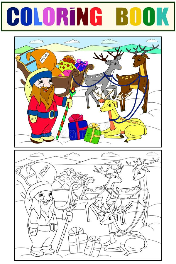 Childrens color and coloring cartoon animal friends in nature. Santa claus on the north pole next to sleighs and magical. Deer. Anti-stress for adult. Black and royalty free stock image