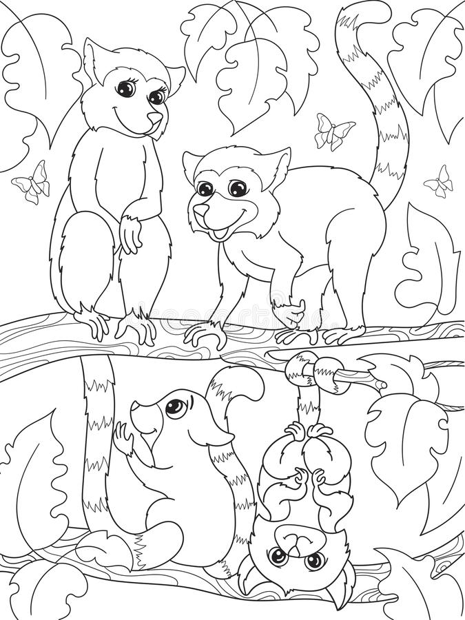 Childrens coloring book cartoon family of lemurs on nature. vector illustration