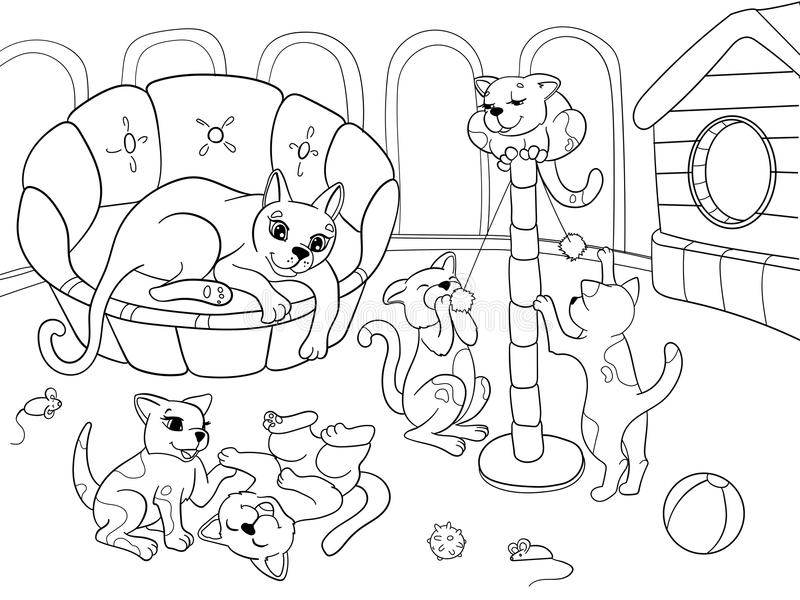 Childrens Coloring Book Cartoon Family On Nature. Mom Cat And ...