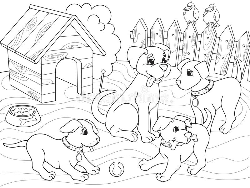 Download Childrens Coloring Book Cartoon Family On Nature Mom Dog And Puppies Children Stock Vector