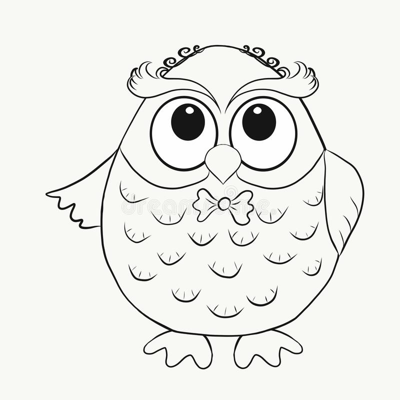 Childrens Coloring funny owl girl.  royalty free illustration