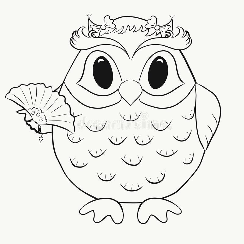 Childrens Coloring funny owl girl.  vector illustration