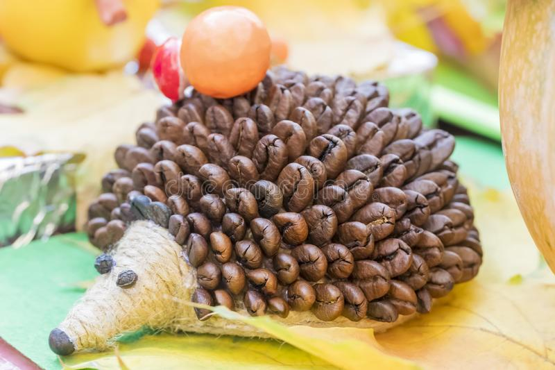Children crafts - hedgehog of coffee royalty free stock images