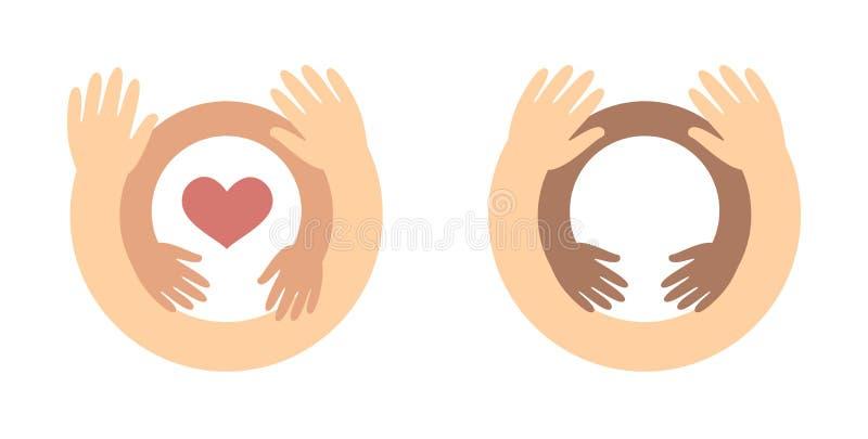 Childrens day logo concept - baby hands inside hugging hands care for children, charity symbol. Childrens day logo concept - baby hands inside hugging hands stock illustration