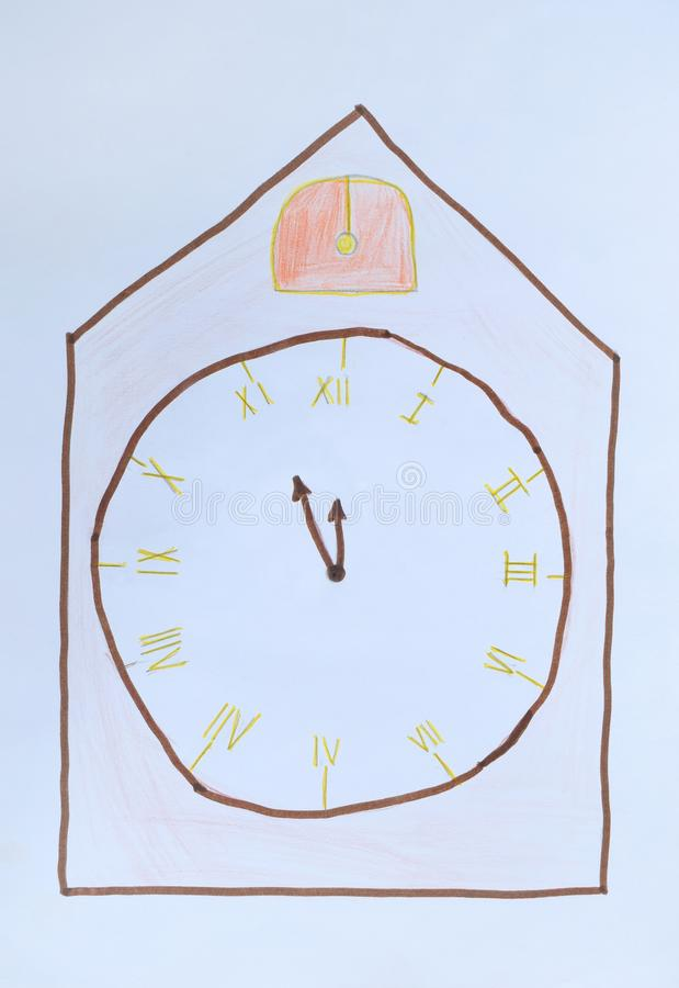 Childrens drawing: alarm clock showing at five minutes to twelve. New Year concept. Its high time royalty free stock photos