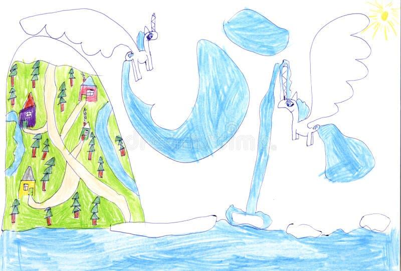 Childrens drawing stock illustration